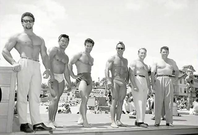 Steve Reeves, Timmy Leong, Reg Park, Irvin Zabo Koszewski, Lud Shusterich, and Bert Goodrich Posing at Muscle Beach