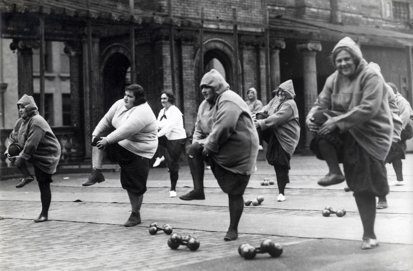 Women undergoing a slimming course in a courtyard in New York Part Two