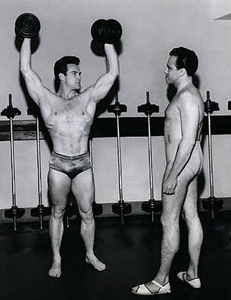 Steve Reeves and George London Standing Press