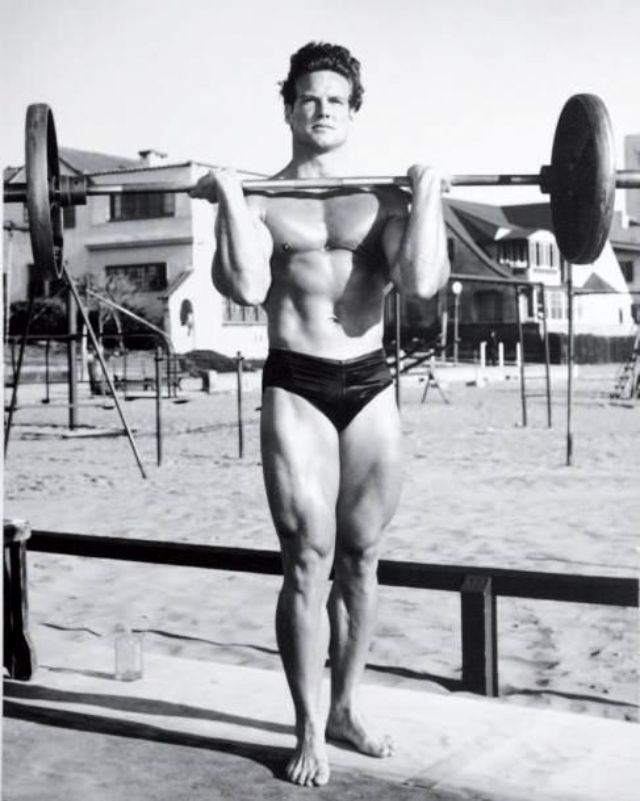 Steve Reeves Standing Barbell Press 1940s