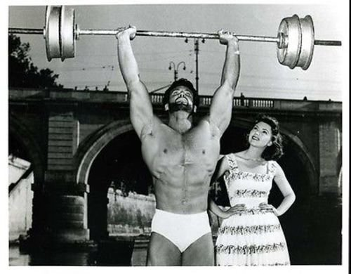 Steve Reeves Standing Barbell Press with Woman