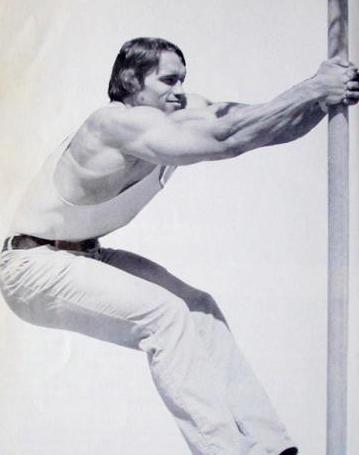 Arnold Schwarzenegger Stretching
