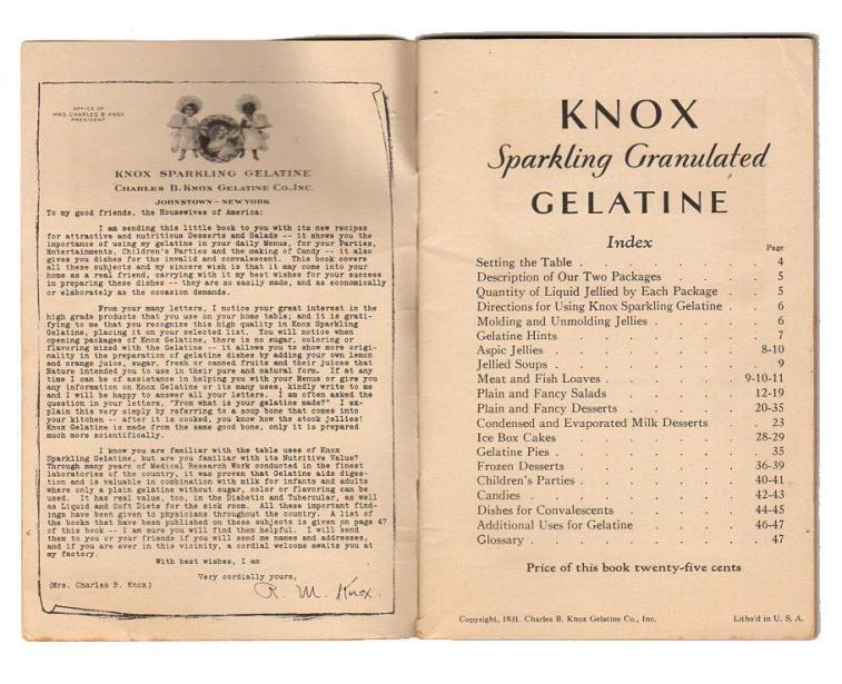 Gelatin Advertisement 15 Knox Gelatin Dainty Desserts Cookbook