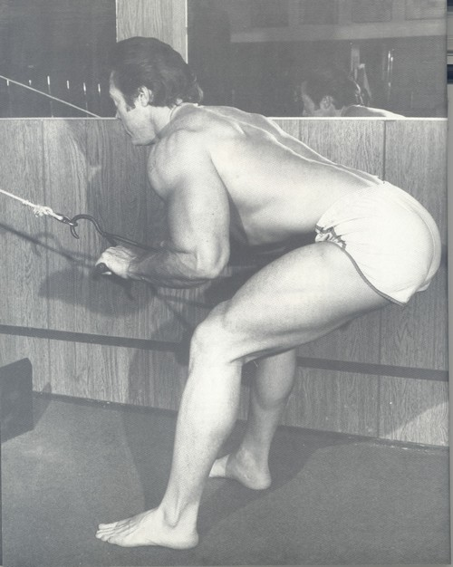 Don Peters performing Vince Gironda Race Dive Row
