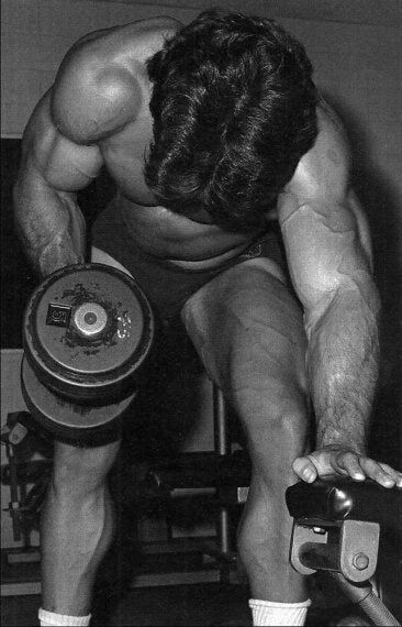 Mike Mentzer Unilateral Bent Over Supported Dumbbell Row