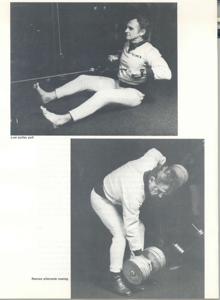 Vince Gironda performing Low Pulley pull and Reeves Alternate Rowing, A Muscle has Four Sides