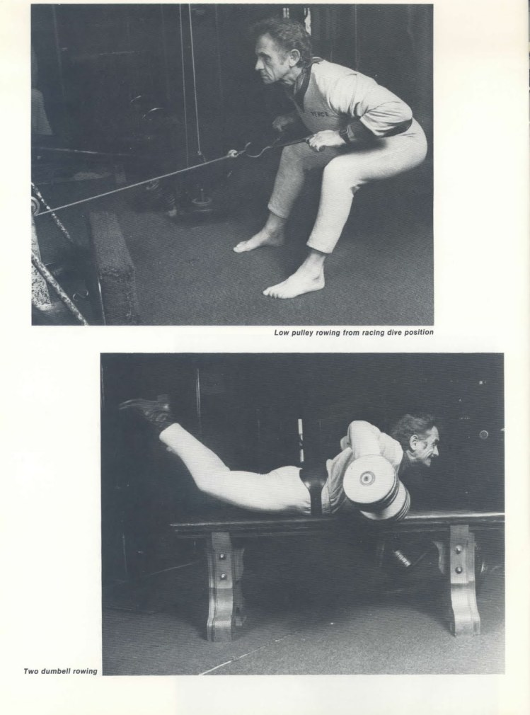 Vince Gironda performing Low Pulley Rowing from Racing Dive Position and Two Dumbbell Rowing aka Prone Bench Row, A Muscle has Four Sides