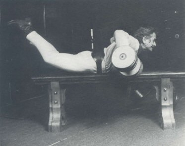 Vince Gironda performing Two Dumbbell Rowing aka the Prone Bench Row, A Muscle has Four Sides