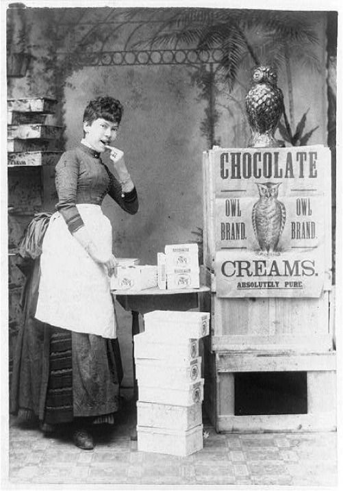1886 Woman eating Chocolate Owl Brand Advertisement