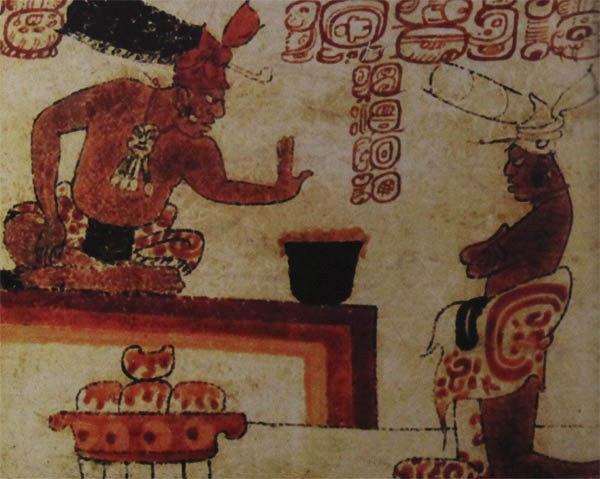 A Mayan Lord being Offered a Chocolate Drink