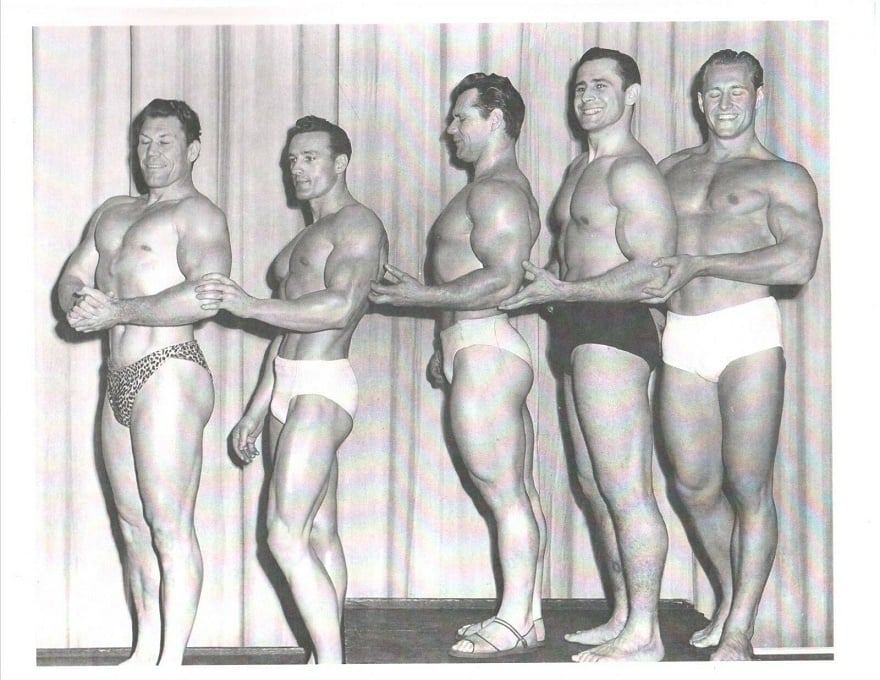 Bert Goodrich, Clarence Clancy Ross, John Grimek, Steve Stanko, Alan Stephan Posing