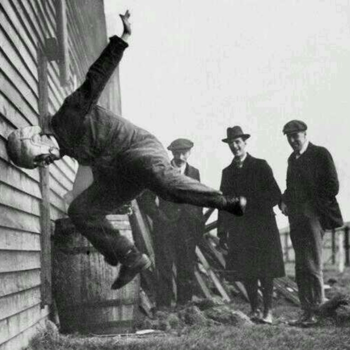 Testing football helmits in 1912