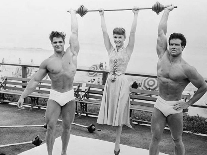 Dick Dubois Steve Reeves and Debbie Reynolds Posing