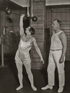 Unknown Women in The Old Workout Gear Posing