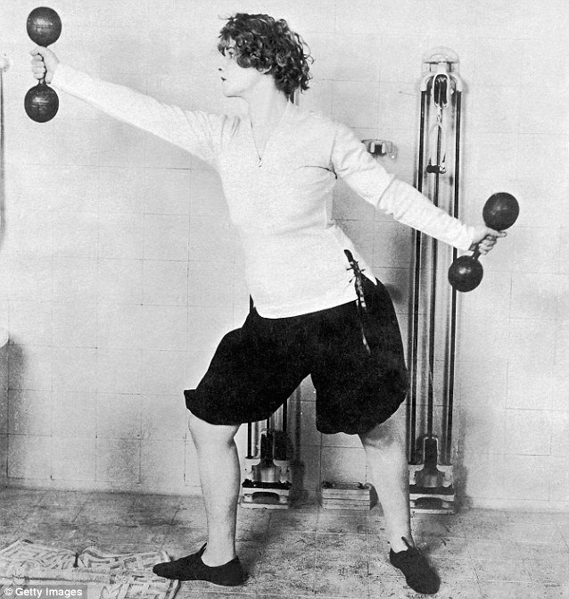 Vintage Woman Exerciser Posing