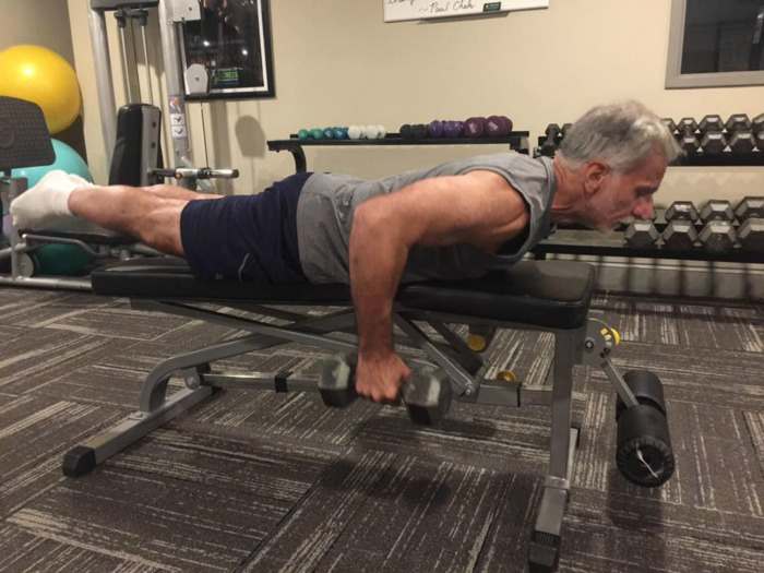 Orlando Performing the Prone Bench Row