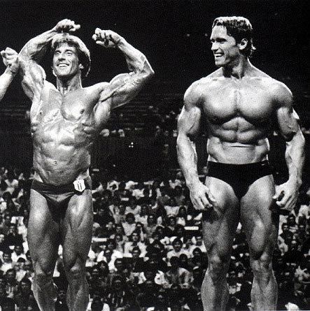 Frank Zane and Arnold Schwarzenegger Posing
