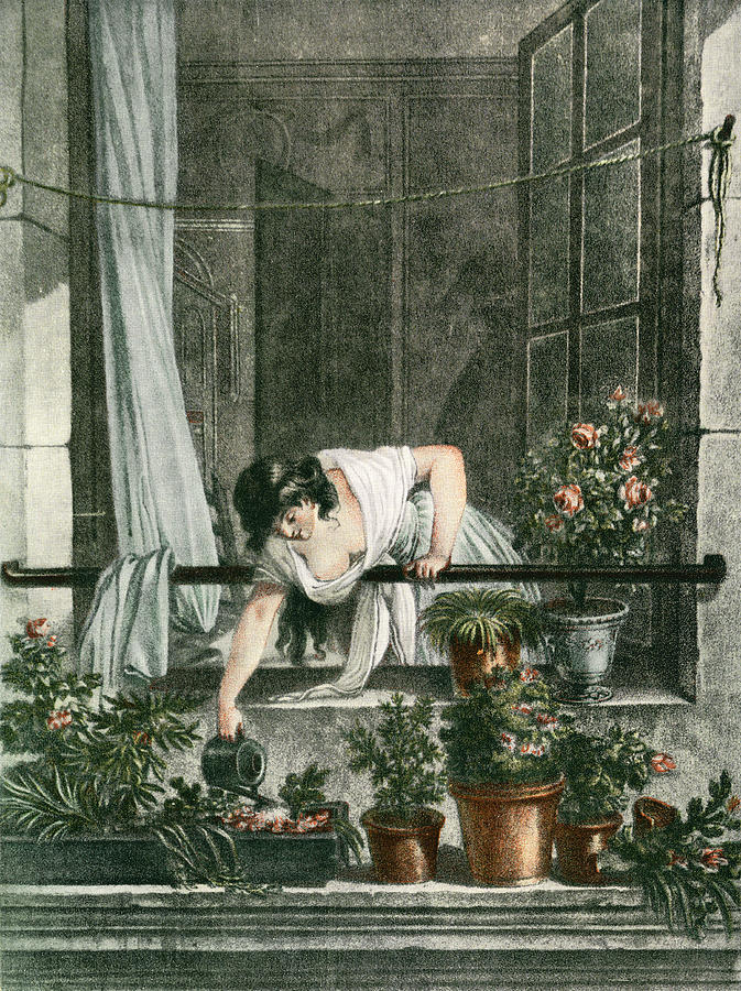 Young Woman Watering Plants Ken Welsh