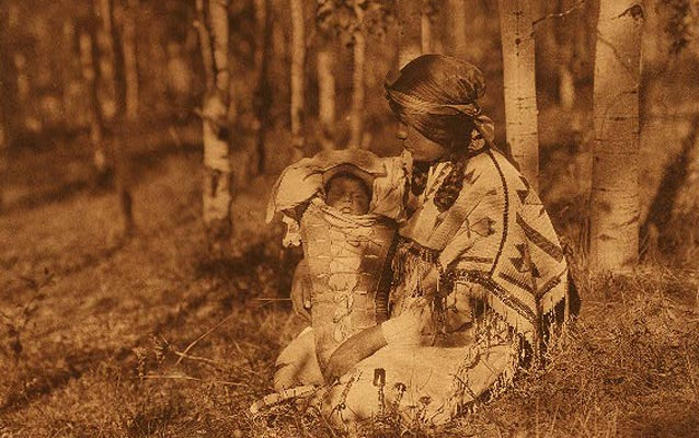 Aissiniboine Mother and Child Photograph by Edward Curtis, 1928