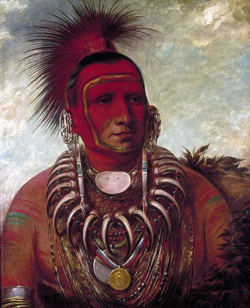 """Shon-ta-yi-ga, Little Wolf, a Famous Warrior."" by George Catlin, 1844"