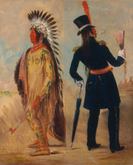 Wi-jun-jon, Pigeons Egg Head (The Light) Going To and Returning From Washington by George Catlin 1837-1839