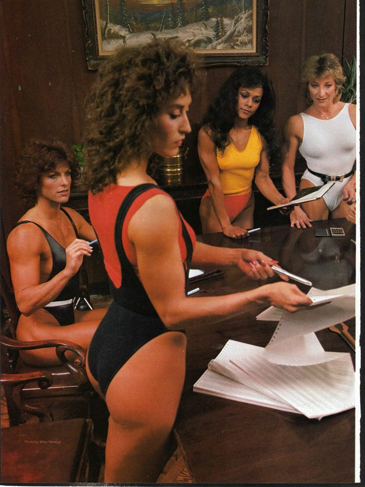 Diana Dennis, Rachel McLish, Unidentified, Kay Baxter Posing