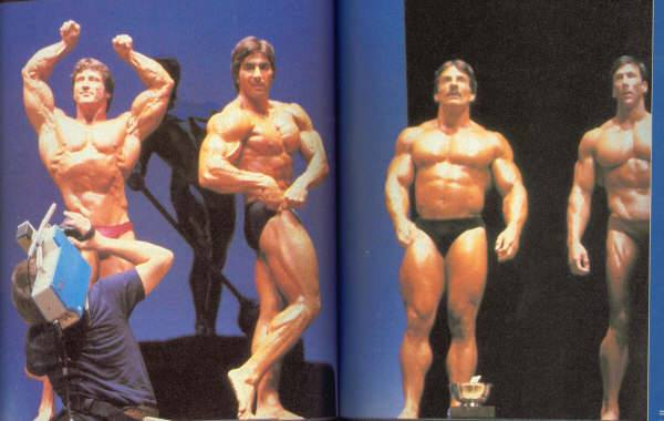 Frank Zane, Dennis Tinerino, Mike Mentzer, Boyer Coe Posing
