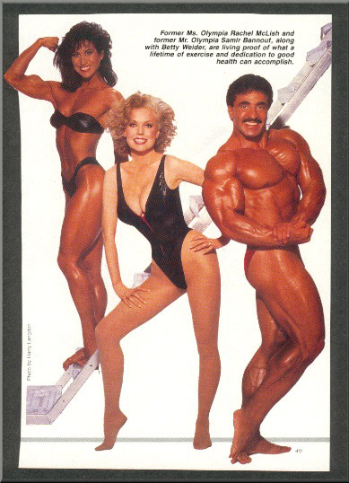 Rachel McLish, Betty Brosmer, and Samir Bannout Posing