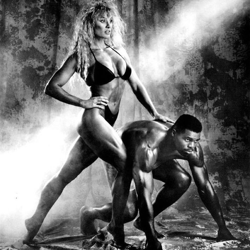 Corinna Cory Everson and Hershel Walker Posing