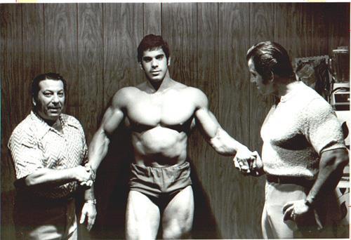Dan Lurie, Lou Ferrigno, and Reg Park Posing
