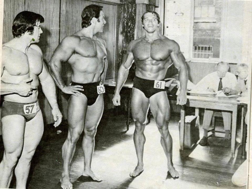 John Bubb, Reg Park, and Arnold Schwarzenegger Posing