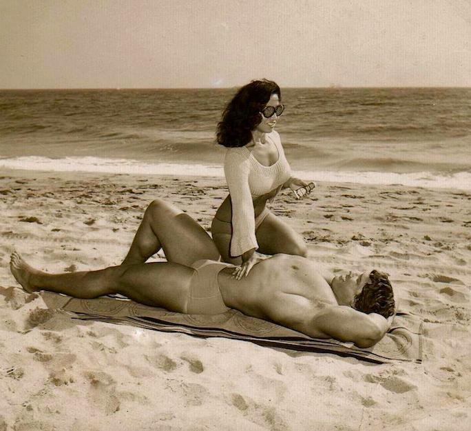 Arnold Schwarzenegger and Lydia Tack Posing