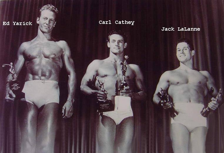 Ed Yarick, Carl Cathey, and Jack LaLanne Posing