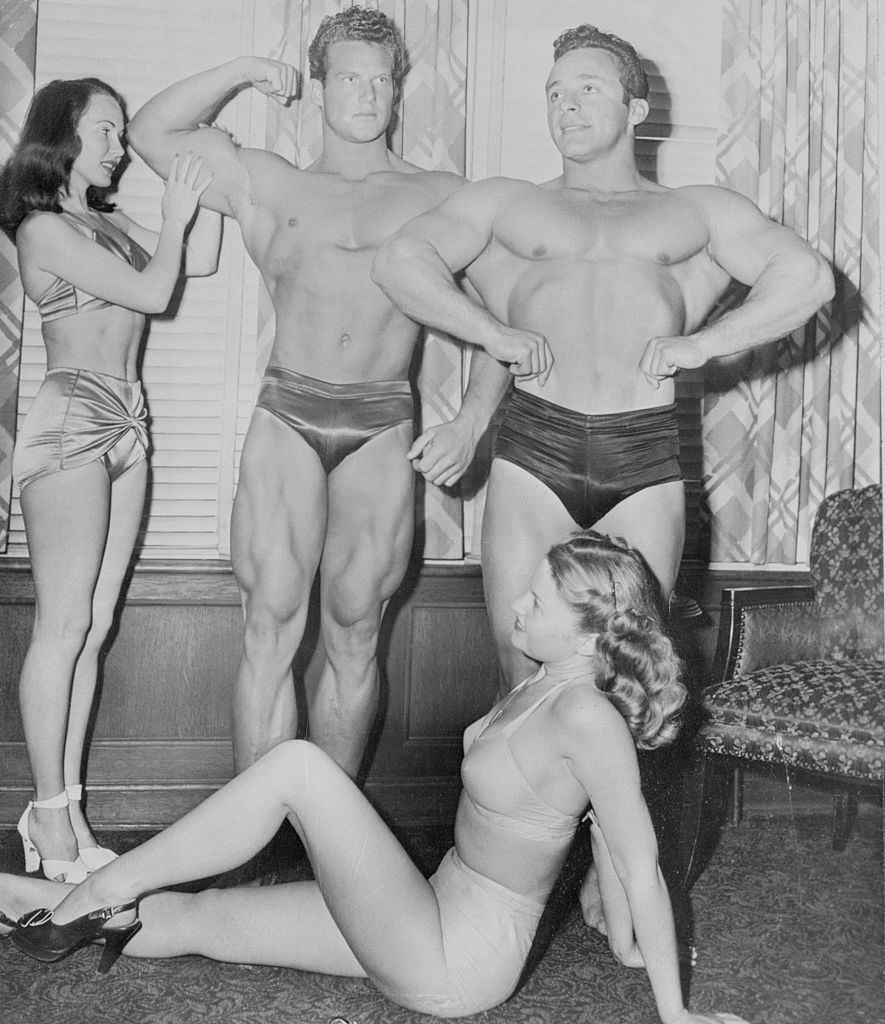 Steve Reeves, George Eiferman, Gwen Caldwell, and Sara Hirch Posing