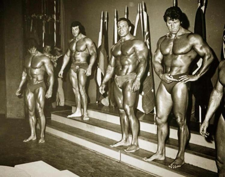 Frank Zane, Bill Pearl, and Reg Park Posing