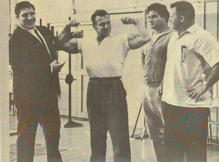 John Grimek, Bruno Sammartino, Argentine Apollo, and Arnold Skaaland Posing