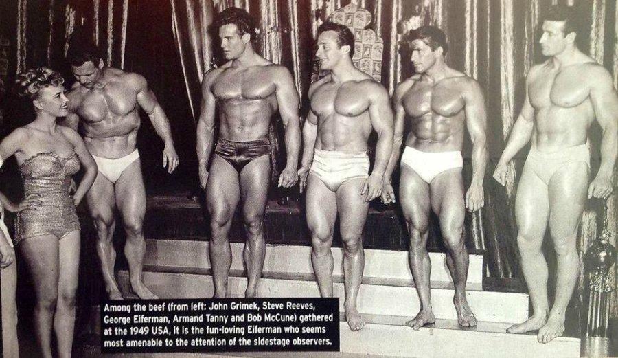 John Grimek, Steve Reeves, George Eiferman, Armand Tanny, and Bob McCune Posing