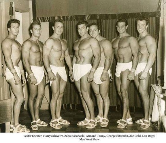 Lester Sheafer, Harry Schwatrz, Irvin Zabo Koszewski, Armand Tanny, George Eiferman, Joe Gold, and Lou Degni Posing